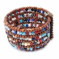 Wide Cuff Bracelet Hand Beaded Wood & Colorful Glass Beads Memory Wire Jewelry