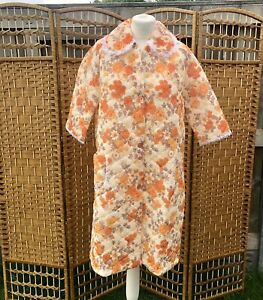 Vintage Quilted Dressing Gown House Coat Floral Orange Brown 12 - 14 Lace Trim