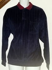 Vintage 70's-80's Velour Pullover Shirt w/Pocket (No Tags) Navy Blue Mens Large
