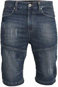 Crosshatch Mens Trebor Denim Shorts Ripped Jeans Jorts - Dark Wash