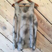 Eileen Fisher Womens Size Medium Silk Cotton Gray Black Tie Dye Tank Tunic Shirt