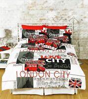 LONDON CITY DUVET COVER SET QUILT BEDDING WITH PILLOWCASE BED LINEN ALL UK SIZES