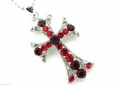 Red Cross Women's Pendant Necklace Crystal  New