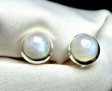 Mondstein Ohrstecker 925 Silber 7,5 mm weiß mit schönem Blauschimmer UNIKAT