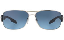 NWT Prada Linea Rossa Sunglasses SPS 53N 1BC-5I1 Silver/Blue Gradient 65 mm NIB