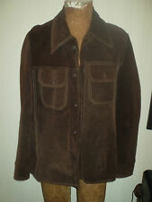 VTG JCPENNEY RANCHER WESTERN SUEDE DARK BROWN LEATHER JACKET SHIRT