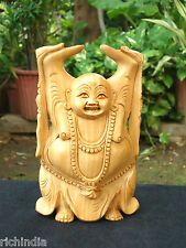 Happy Man laughing Buddha statue art Craft Good luck Christmas wood carving