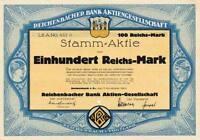 Reichenbacher Bank Reichenbach historische Aktie 1924 Vogtland Sachsen Art Deco.