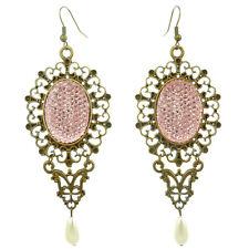 Boucles d'oreilles gothique victorien baroque STRASS ROSE métal doré perle