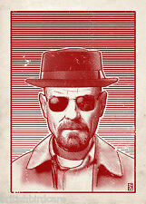 Breaking Bad (red) Illustration by Bill McConkey Film Movie Poster A2 Large Size