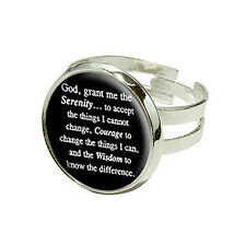 Serenity Prayer On Black - Silver Plated Adjustable Novelty Ring