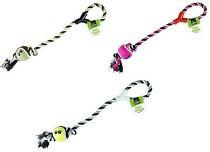 DOG ROPE Braided Chew Tough Strong Tug War Play Toy Tennis Ball Game Pet Handle