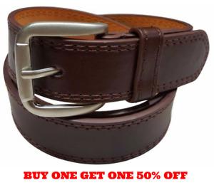 Men's Genuine Leather Casual Dress Plain Brown Belt Silver Buckle New
