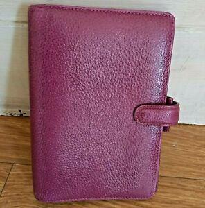 Filofax Personal Finsbury Pebble Grain Leather Personal Organiser Raspberry