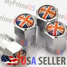 United Kingdom FLAG Logo Set X4 Valve Stem Cap Cover Cars Chromed Wheel Tire USA