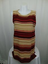 LAUREN Ralph Lauren Plus Size Sleeveless Striped Knit Sweater 1X Red Beige #3938