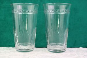 """Pressed Clear Glass Tumblers 6 """" Embossed Dots Baroque Crown Set of 2"""
