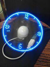 Blue Durable Adjustable USB Gadget Flexible LED Light USB Fan Time Clock Desktop