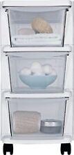 Home Office 3 Drawer White Slim Tower Plastic Storage Unit Drawers on Wheels