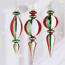 """Antiqued Style Finial Glass Christmas Ornaments 8"""" in Set of 3  RAZ 3623072 NEW"""