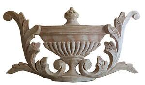 Regency Wood Fireplace Decorative Onlay Beautifully Hand Carved Greek Urn, PN925