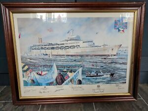 Britannia Rules By Christopher B Dee Signed framed Print, Falklands War ship