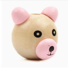 10pcs Natural Pink Wood Beads Wooden 3d Bear Ball Pacifier Clip Jewelry Kid