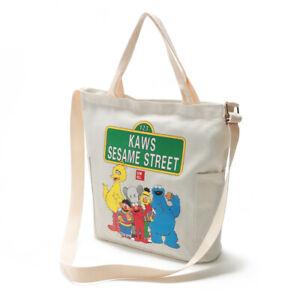 Colorful Sesame Street Pocket Zipper Beige 100% Canvas Cotton 2 Handle Tote Bag