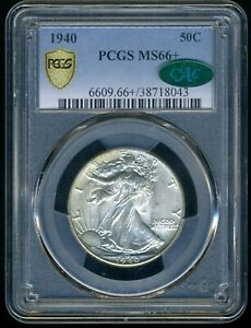 1940 WALKING LIBERTY PCGS MS66+ CAC SECURE --- LUSTROUS WHITE COIN CAC APPROVED