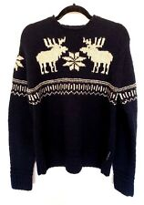 Abercrombie & Fitch Sweater Reindeer Mens Size M Hand Knit 100% Wool Navy Blue