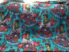 Fleece fabric Frida Kahlo Folk Hearts Birds Artist on blue, 60
