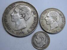 1875 - 1882 SPAIN ALFONSO XII 50 CENT+2+ 5 PESETAS LOT 3 COIN SILVER RARE