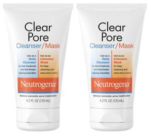 Neutrogena Clear Pore Facial Cleanser & Clay Mask 4.2 fl oz EXP 12/2022 (2 pack)
