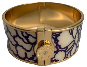 Ann Taylor Enamel Purple Print Design Cream Gold Tone Cuff Bracelet