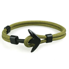 Handmade Men's Black Alloy Anchor Polyester Rope Wristband Bracelet Jewelry