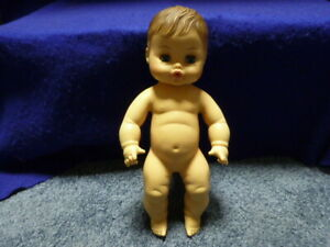 """Vintage Horsman 13"""" Drink & Wet Rubber Molded Hair Doll Dollbaby 1972 NO Clothes"""