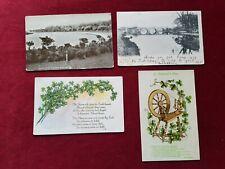 4 vintage postcards Belfast Ireland Shaws Bridge shamrocks Lagan Ormeau spinning