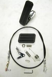 Black Aluminum Floor Mount Gas Pedal + Brake Pad + SS Throttle Cable Bracket Kit