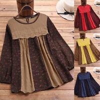 Vintage Femme O-Cou Imprimé Floral Couture Pur Coton Loose Shirt Haut Tops Plus