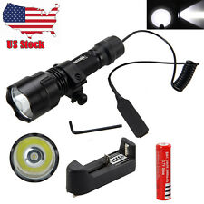 Tactical 5000LM XM-L T6 LED Flashlight Torch Hunting Light+1x18650 Charger+Mount