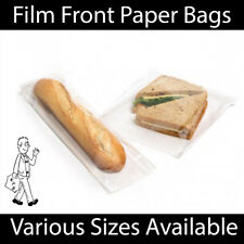 More details for white clear film front paper bags food sandwich pastries cellophane window bag