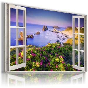 OCEAN BLUE LAGOON 3D Window Paradise View Canvas Wall Art Picture W80 UNFRAMED