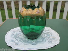 Vintage Victorian Bohemian Green Emerald Glass Royale Palace Size Rose Bowl Vase