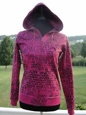 UNDER ARMOR WOMENS HOT PINK ZIP UP HOODIE HOODED JACKET XS BLACK LOGO PRINT