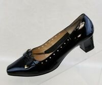 Ros Hommerson Bow Pump Block Heel Black Patent Leather Womens Shoes Size 8M