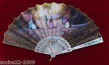 Antique Carved Mother Pearl Hand Painted Signed Hand Fan