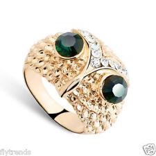 Eule owl Ring Zirkonia Kristalle Smaragd Augen 18 k Goldplattiert Gr. 54