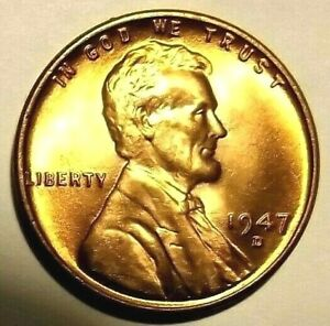 """1947-D Lincoln Wheat 1c""""FROSTY""""GEM BU-RED's from OBWR.75cents S&H+COMBINED"""