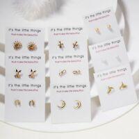 Cute Womens Gold Hummingbird Cross Arrow Pearl Ear Stud Earrings Card Jewellery