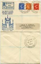 GB 1946 REGISTERED BRIGHTON CONGRESS LABEL FIRST DAY SPECIAL CANCELS HARROLD ENV